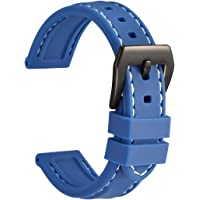 WOCCI Cinturino Orologio in Silicone con Fibbia Nera, Impermeabile e Robusto