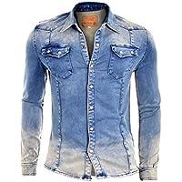 D&R Fashion Shirt spessi Denim Jeans Degli uomini con normale collare e (Tasche Collare)