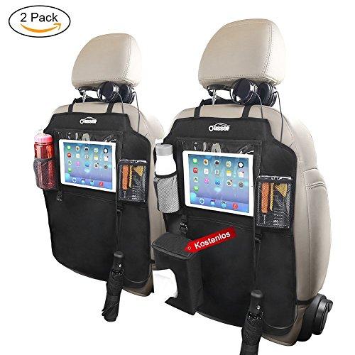 Oasser 2pcs Auto-Rückenlehnenschutz Rückenlehnen-Tasche mit Durchsichtigem Tablet-Fach für Flasche Ipad und Extra Dinger Wasserdichtes Spezialmaterial