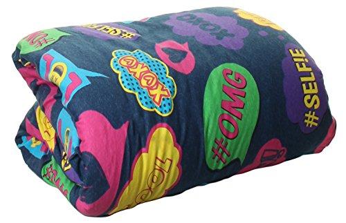 100% Baumwolle Jersey Knit Tröster Twin Größe, 100 % Baumwolle, Denim Bubble Text, 64x84 - Baumwolle Denim Tröster