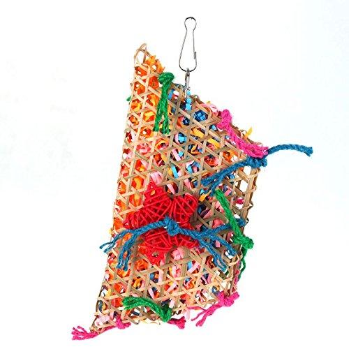 SODIAL Bunte Bambus Weben Baumwolle Seil Schaukel Papagei Vogel Spielzeug Nymphensittich Kauen Spielzeug Vogelkaefig Zubehoer Haustier Lieferungen Papagei Spielzeug -