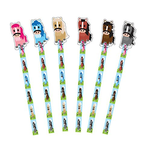 9x bunte Bleistifte, Design mit Pony, HB, Radiergummi in Ponyform am Ende ideal als Geschenk