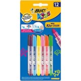 BIC Kids Mini-Fasermaler Kid Couleur Mini, ideale Filzstifte für Kinder ab 3 Jahren, im Blister à 12 Stück