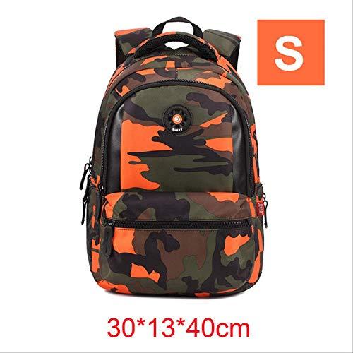 OFOO Schulranzen Orthopädische Camouflage Kinder Schulranzen Rucksack für Teenager Kinder Jungen Mädchen Laptop Tasche Knapsack Ranzen Orange -