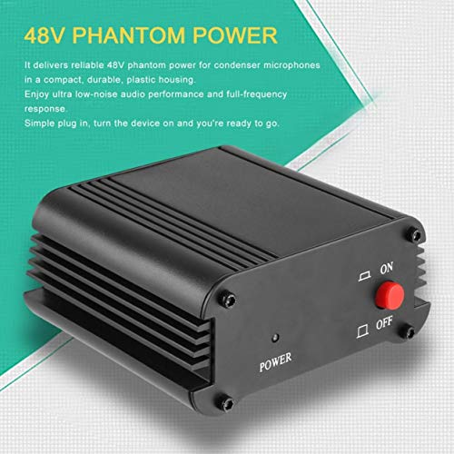 48V 1-Channel Phantom Power Supply with One XLR Audio Cable for Condenser