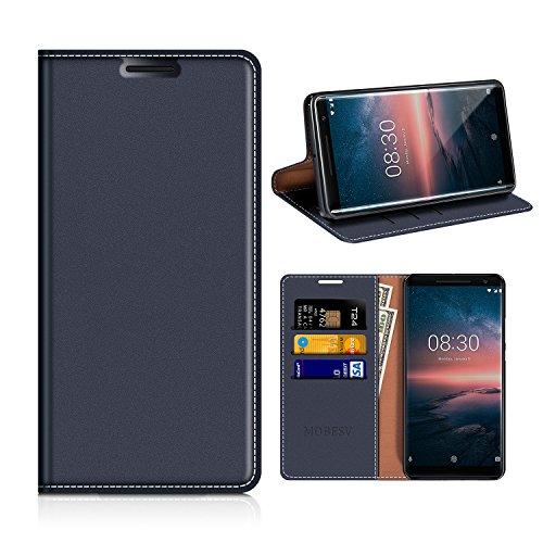 MOBESV Nokia 8 Sirocco Hülle Leder, Nokia 8 Sirocco Tasche Lederhülle/Wallet Case/Ledertasche Handyhülle/Schutzhülle mit Kartenfach für Nokia 8 Sirocco - Dunkel Blau