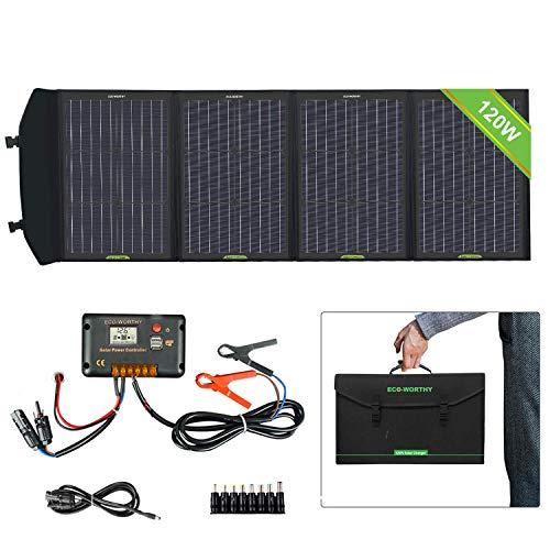 ECO-WORTHY 120 Watts faltbares Solarpanel-Ladegerät mit Laderegler Gleichstromausgang Tragbares Outdoor-Ladegerät im Koffer für Wohnmobile RV Hiking Laptop Tablet iPhone