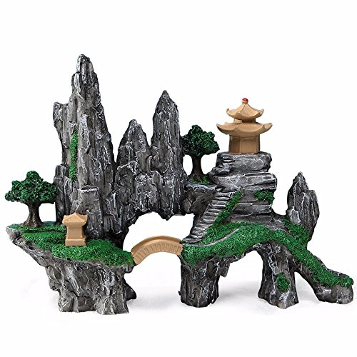 Acquario Paesaggio Decorazione Acquario Decorazione Simulazione Resina pietra giardino artigianato ponte LEGNETTI Relitto Treasure Box