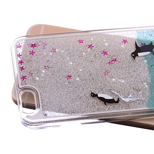 iPhone 5C Hülle,iPhone 5C Case,iPhone 5C Cove,3D Kreativ Muster Transparent Hard Case Cover Hülle Etui für iPhone 5C,EMAXELERS Cute Tier Cat Kaninchen Serie Bling Luxus Shiny Glitzer Treibsand Liquid  Animal Series 8