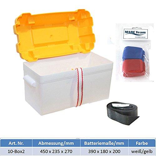 Batteriekasten mit Belüftung und Gurt für Batterien 390 * 180 * 200 mm incl. 2 Stk. MARETEAM® Batterieschnellklemmen