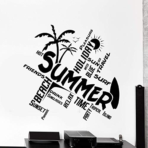 Zqyjhkou tavola da surf adesivo da parete in vinile palm tree wave beach appassionati di sport estremi camera da letto teenager dormitorio home decor wall sticker cl18 44x42cm