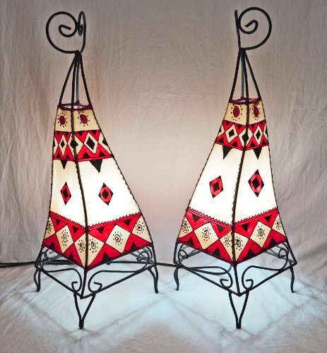 Painted Twin Moroccan Henna Lamp - Square 60Cm Red & Cream - Set of 2