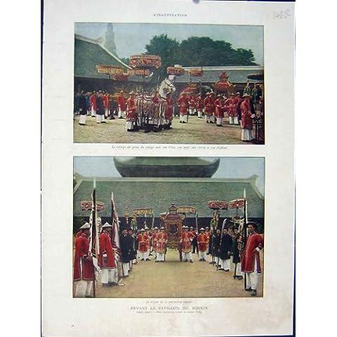 Impresión Indochina 1931 del Francés del Festival de Tonkin del Pabellón
