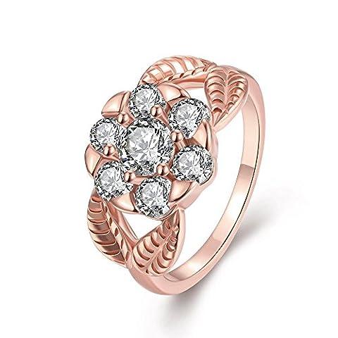 Thumby K Gold Zircon Art Petal Ring for Women,Rose Gold
