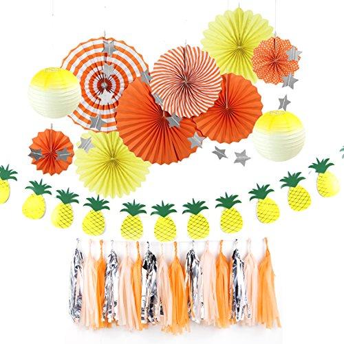 Easy Joy Decoración para Fiesta de Verano, Decoración con Pancarta de PiñA, Fresco para Fiesta, Cumpleaños, Boda, Aniversario, Arrancio y Amarillo