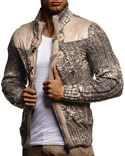 LEIF NELSON Herren Strickjacke Pullover Hoodie Sweatshirt Longsleeve Winterjacke Pulli Sweater Langarm LN20739; Größe S, Braun |
