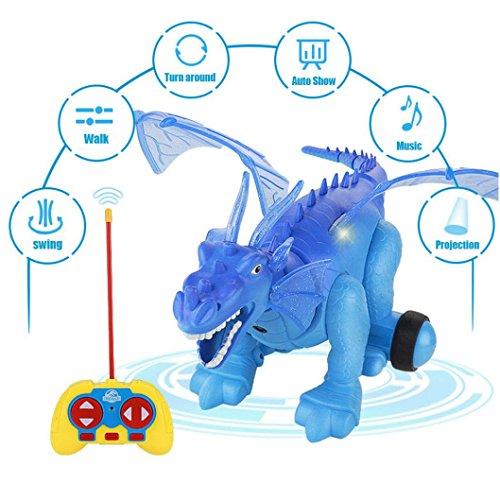 Xshuai 43 * 32 * 19 cm Simulierte Elektrische Dinosaurier Licht Projektion Realistische Dinosaurier Action Weihnachtsgeschenk Spielzeug Modell (Läuft Kostüme Pirat)
