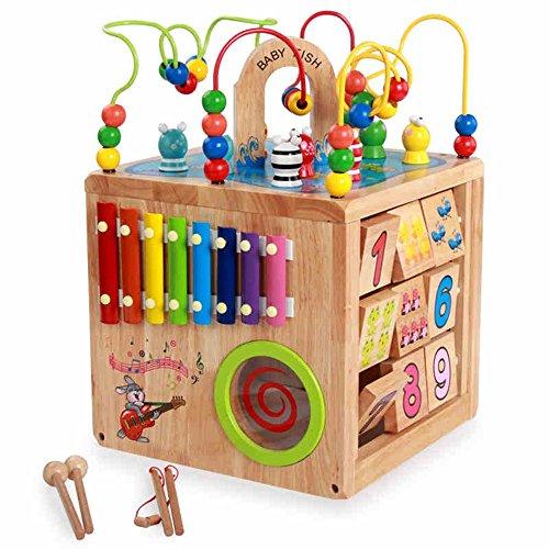 Unbekannt FEI Babyspielzeug Kinderspielzeug/Alles Massivholz Große Perlen um Perlen/Logs Umwelt Toys/Baby-Entwicklungs-Puzzle 18 Monate -3-6 Jahre alt Frühe Erziehung