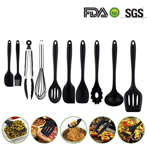 Küchenhelfer Set 10 Stück, Adkwse Silikon Küchenutensilien Hochwertige Hitzebeständige,Silikon löffel ,Schneebesen