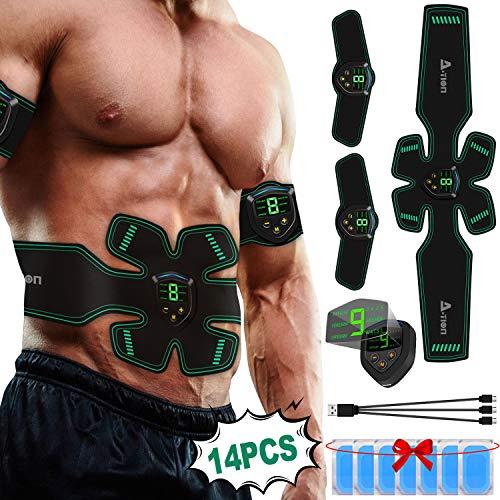 A-tion elettrostimolatore per addominali, ems stimolatore muscolare professionale per addome/braccia/gambe 9 livelli di intensità uomo/donna con 14pcs gel pads