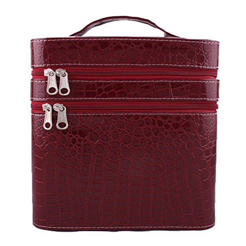 GBT Tragbare Hochleistungs-Doppelschicht-Kosmetiktasche Beauty Case wine red