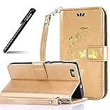 BtDuck Hülle Compatible for Huawei P8 Lite Leder Gold Schmetterling Handyhülle Ledertasche Stand Funktion Kartenfach Back Cover Hülle Card Slots Flip Cover Gold