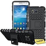 Samsung Galaxy Alpha Funda, FoneExpert® Heavy Duty silicona híbrida con soporte Cáscara de Cubierta Protectora de Doble Capa Funda Caso para Samsung Galaxy Alpha SM-G850 G850F + Protector Pantalla (Negro)