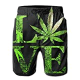 bbelieve Love Marijuana Weed Leaf Schwarz Herren Big & Tall Badehose Boardshorts Basic Badebekleidung mit Taschen L