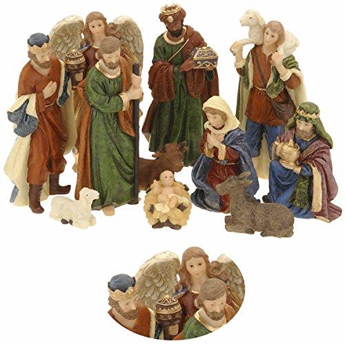 LS Design Krippenfiguren Set 11teilig Weihnachten Krippe bis 10cm Maria Josef Jesus Schaf