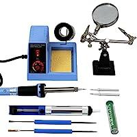 Komerci ZD-99Kit Regelbare Lötstation Set 150-450°C mit Lötkolben 48W, Lötspitzen, Lötzinn, Entlötpumpe, Werkstückhalter, Blau