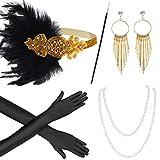 Beelittle Anni '20 Accessori Set Flapper Fascia, Collana, Guanti, portasigarette Grandi Accessori Gatsby per Le Donne (W)