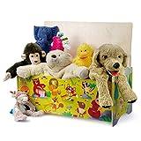 Dida - Sitztruhe mit Platz für Spielzeug aus Holz für Kinder - Dekoration: Tierkonzert im Wald