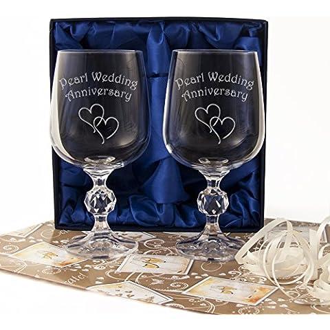 Pearl 30° anniversario di matrimonio, coppia di calici da vino