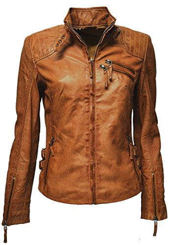 "Zimmert Damen Biker Leder-Jacke Cognac-Braun ""Amy"" gesteppt, washed, used-look, Slim-Fit (42, Cognac)"