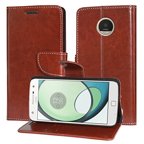 DMG Motorola Moto Z Play Flip Cover, Sturdy PU Leather Wallet Book Cover Case for Motorola Moto Z Play (Brown)