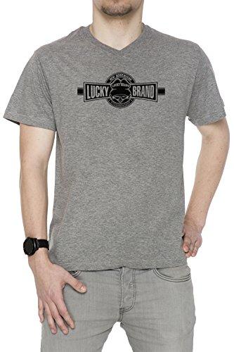 lucky-brand-gris-algodon-hombre-v-cuello-camiseta-manga-corta-mangas-grey-mens-v-neck-t-shirt