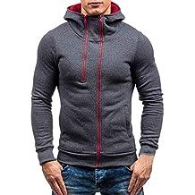 f16678b4dd1f MORCHAN T-Shirt à Manches Longues pour Hommes Automne Hiver Zipper Sweat à  Capuche et