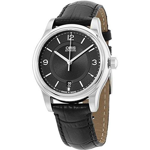Oris Men's 37mm Black Calfskin Band Steel Case Automatic Watch 73375784034LS