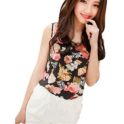 Tops Mujer, Amlaiworld Camisa de gasa sin mangas de la flor de la blusa de las camisetas sin mangas del chaleco (negro)
