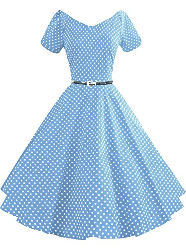 LUOUSE 40s 50s 60s Vintage V-Ausschnitt Schwingen Rockabilly Pinup Ballkleid Partei Kleid V091-DotLightBlue
