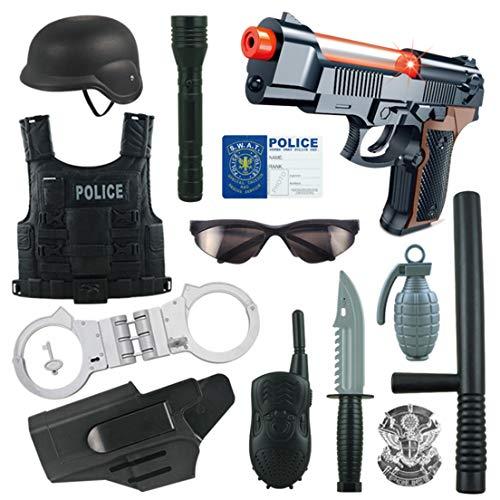 Yavso Polizei Spielzeug, 13 Stücke Kinder Polizei Kostüme Polizei Rollenspiel Set für Swat, FBI, Detektiv, Halloween oder Weihnachts Geschenk