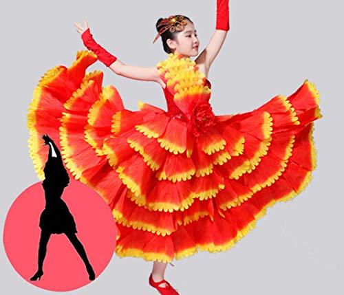 SMACO Blumendekoration Kinder Spanisch Tänzer Kostüme Sexy Flamenco Tanzen Kostüm Mädchen Leistung Flamenco Gesellschaftstanz Kleid,720°,130CM (Tänzer Kostüm Kinder)