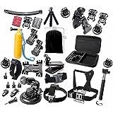 Gearmax® Esencial Kit de Accesorios para GoPro Hero 4 3 + 3 2 1 Black Silver Accesorio para GoPro 4 3 + 3 2 1 Negro Plata SJ4000 SJ5000 SJ6000, Accesorio de Cámara para GoPro Hero4 Hero3+ Hero3 Hero2