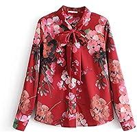 806a350b1e Cnsdy Camisas para Mujeres Estilo de Vacaciones Pajaritas Estampadas Camisas  de Manga Larga Camisas de Solapa