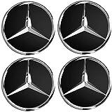 4Nabenkappen Schwarz mit Mercedes-Logo, 60mm - für Klassen A, B, C, E, CLK, GL, M, ML, SLK,für Alufelgen