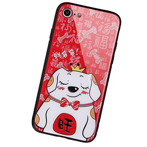aichose iPhone 7Fall, iPhone 8Fall, Luxus Fortune Cat für Ihr Handy Neue Jahr, Tempered Glas Back Cover mit Soft TPU Bumper Rahmen Stoßdämpfung bietet Starken Schutz, iPhone 7/8, FortuneCat C -
