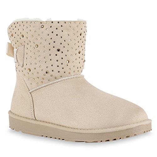 Warm Gefütterte Damen Stiefeletten Schlupfstiefel Boots Schleifen Schuhe 132938 Creme Strass 41...