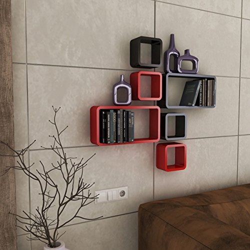 DecorNation Wall Shelf Set of Six Cube Rectangle Designer Wall Rack Shelves - Red and Black