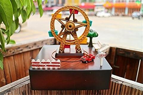 Festival et cadeau d'anniversaire Mécanisme musical Rétro Classique Pastoral Rotation Ferris Wheel Windmill Waterwheel Music Box Box Box Gift Envoyer Girls Envoyer des amis, 15 * 15 * 16Cm