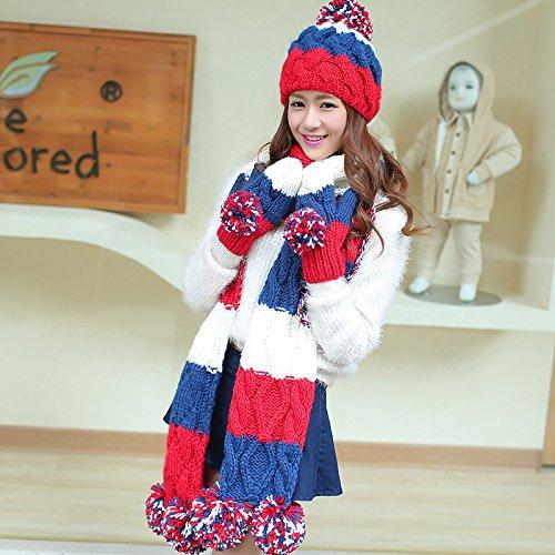 HL-HL-Drei Stücke Anzug Nähen Wolle Hut Schal Handschuhe drei Anzug, Rot und Blau. (Baseball-handschuh-rot-blau)